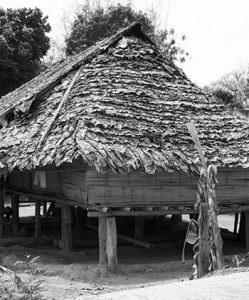 Wooden hill tribe hut in Chiang Mai